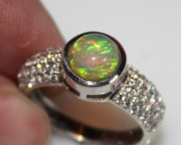 Ethiopian Fire Opal Silver Ring Size US (7) 0185