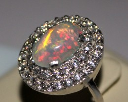 Ethiopian Fire Opal Silver Ring Size US (7) 0186