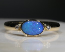 Natural Australian Opal  and Diamond 18k  Gold Ring.  Size 7.25