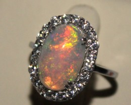 Ethiopian Fire Opal Silver Ring Size US (7) 0187