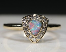 Natural Australian Boulder Opal and Diamond 18k Gold Ring - Size 6.25