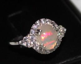 Ethiopian Fire Opal Silver Ring Size US (7) 0191