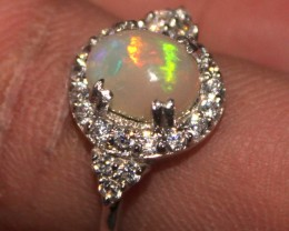 Ethiopian Fire Opal Silver Ring Size US (7) 0191