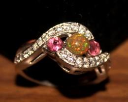 Ethiopian Fire Opal & Rhodolite  Silver Ring Size US (6) 0195