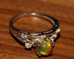 Ethiopian Fire Opal Silver Ring Size US (6.5) 0198