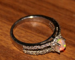 Ethiopian Fire Opal Silver Ring Size US (6.5) 0199