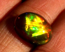 2.90 Crt Natural Fire Ethiopian Black Smoked Opal Cabochon 1018