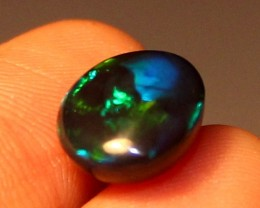 2.45 Crt Natural Fire Ethiopian Black Smoked Opal Cabochon 1048