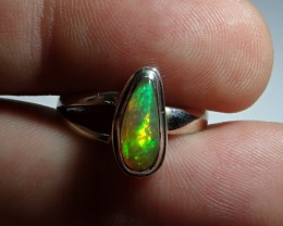 Sz 6.5 Natural Ethiopian Opal .925 Silver