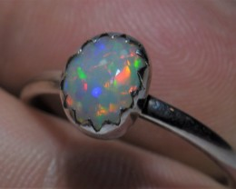 Sz 7.5 Natural Ethiopian Opal .925 Silver