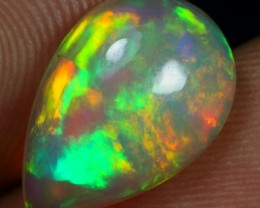 Free Shipping 3.20cts Strong Multi Neon Fire Ethiopian Opal