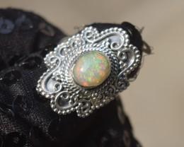 ETHIOPIAN OPAL RING 925 STERLING SILVER JE1059
