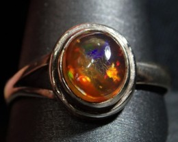 7.75sz  Sterling .925 & Solid 1.5ct Mexican Parti Opal Ring