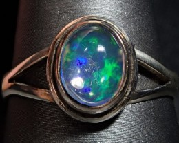 7sz  Sterling .925 & Solid 1.5ct Mexican  Blue  Opal Ring