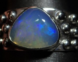 6.5sz  Sterling .925 & Solid  2ct Welo  Blue  Opal Ring