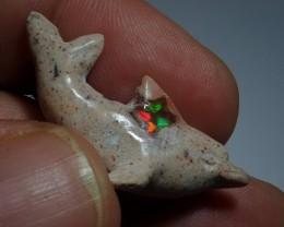 Mexican Matrix Opal Cool Little  Blue  Gemmy Dolphin