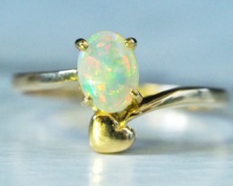 Cute Crystal Opal 18k Yellow Gold Ring SCA3001