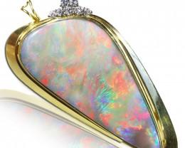 LargeMintabie  Fire  Opal set in 18k Gold Pendant SCA3004