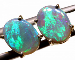 6.62-CTS BLACK OPAL SILVER EARRINGS OF-2454