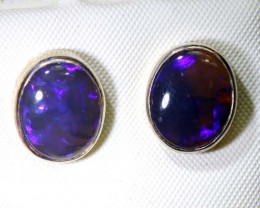 13.05-CTS BLACK OPAL SILVER EARRINGS OF-2455
