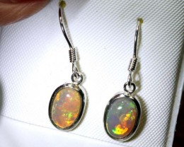7.88-CTS BLACK OPAL SILVER EARRINGS OF-2457