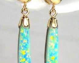 7.8ct 14k Gold Genuine Dangle Australian Opal Earrings Jewelry Gift #959