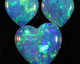 0.77 CTS HEART SHAPED CRYSTAL OPAL FROM COOBER PEDY SET 3 [C-SAFE368]