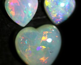 1.35 CTS HEART SHAPE CRYSTAL OPAL FROM COOBER PEDY SET 3 [C-SAFE370]