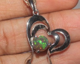 Natural Ethiopian Fire Smoked Opal 925 Sterling Silver Pendant 10