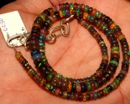 47 Crt Natural Ethiopian Fire black smoked Opal beads 30