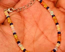 Natural Ethiopian Fire Opal & Lapis Lazuli Beads Bracelet 12