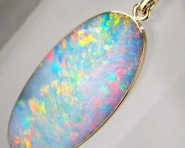 BIG Red Genuine Australian Opal Pendant Inlay Jewelry 11.4ct 14K Gold Gem #