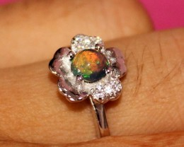 Natural Ethiopian Fire Smoked Opal 925 Sterling Silver Ring Jewelry 275