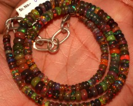 46 Crt Natural Ethiopian Fire Smoked Black Opal Beads Necklace 49