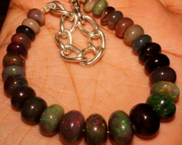 63 Crt Natural Ethiopian Fire Smoked Black Opal Beads Bracelet 0001