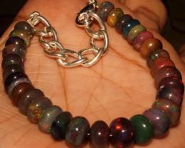 51 Crt Natural Ethiopian Fire Smoked Opal Beads Bracelet 0012