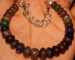 56 Crt Natural Ethiopian Fire Smoked Opal Beads Bracelet 0009