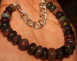63 Crt Natural Ethiopian Fire Smoked Opal Beads Bracelet 0017