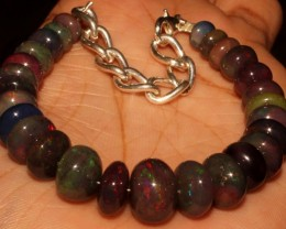 63 Crt Natural Ethiopian Fire Smoked Opal Beads Bracelet 0018