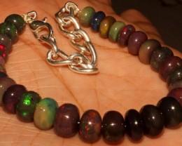 55 Crt Natural Ethiopian Fire Smoked Opal Beads Bracelet 0019