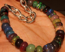 51 Crt Natural Ethiopian Fire Smoked Black Opal Beads Bracelet 0020