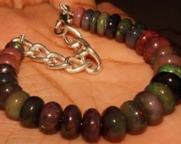 67 Crt Natural Ethiopian Fire Smoked Opal Beads Bracelet 0032