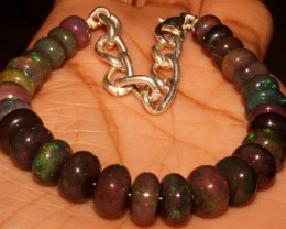 55 Crt Natural Ethiopian Fire Smoked Opal Beads Bracelet 0023