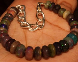 48 Crt Natural Ethiopian Fire Smoked Opal Beads Bracelet 0025