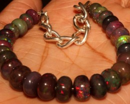 56 Crt Natural Ethiopian Fire Smoked Opal Beads Bracelet 0026