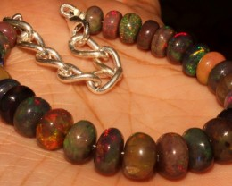 55 Crt Natural Ethiopian Fire Smoked Opal Beads Bracelet 0028