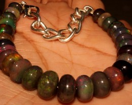 65 Crt Natural Ethiopian Fire Smoked Black Opal Beads Bracelet 0030