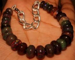 61 Crt Natural Ethiopian Fire Smoked Black Opal Beads Bracelet 0033