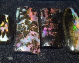 21.00 CRT 4 PCS BEAUTY BROADFALSH FIRE PLAY COLOR INDONESIAN OPAL WOOD FOSS