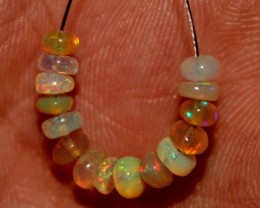 3 Crts Natural Ethiopian Welo Fire Opal Beads Demi Strand 35